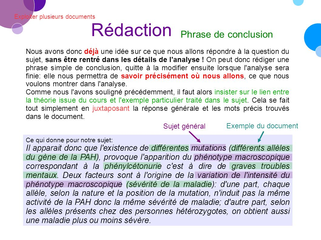 Rédaction Phrase de conclusion