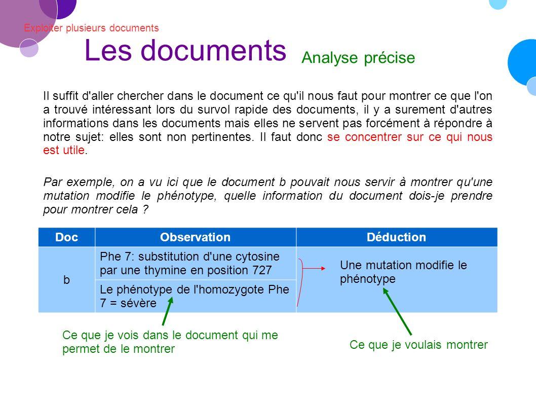 Les documents Analyse précise