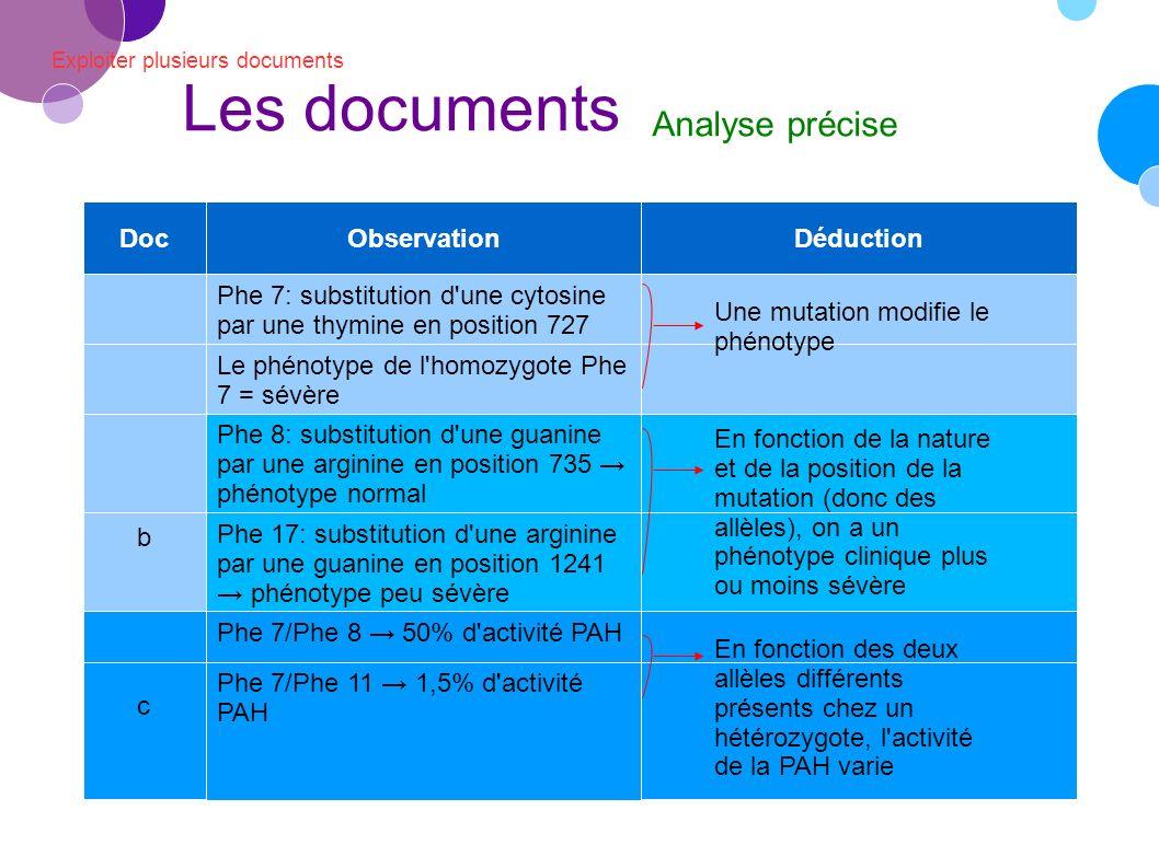 Les documents Analyse précise Doc Observation Déduction b