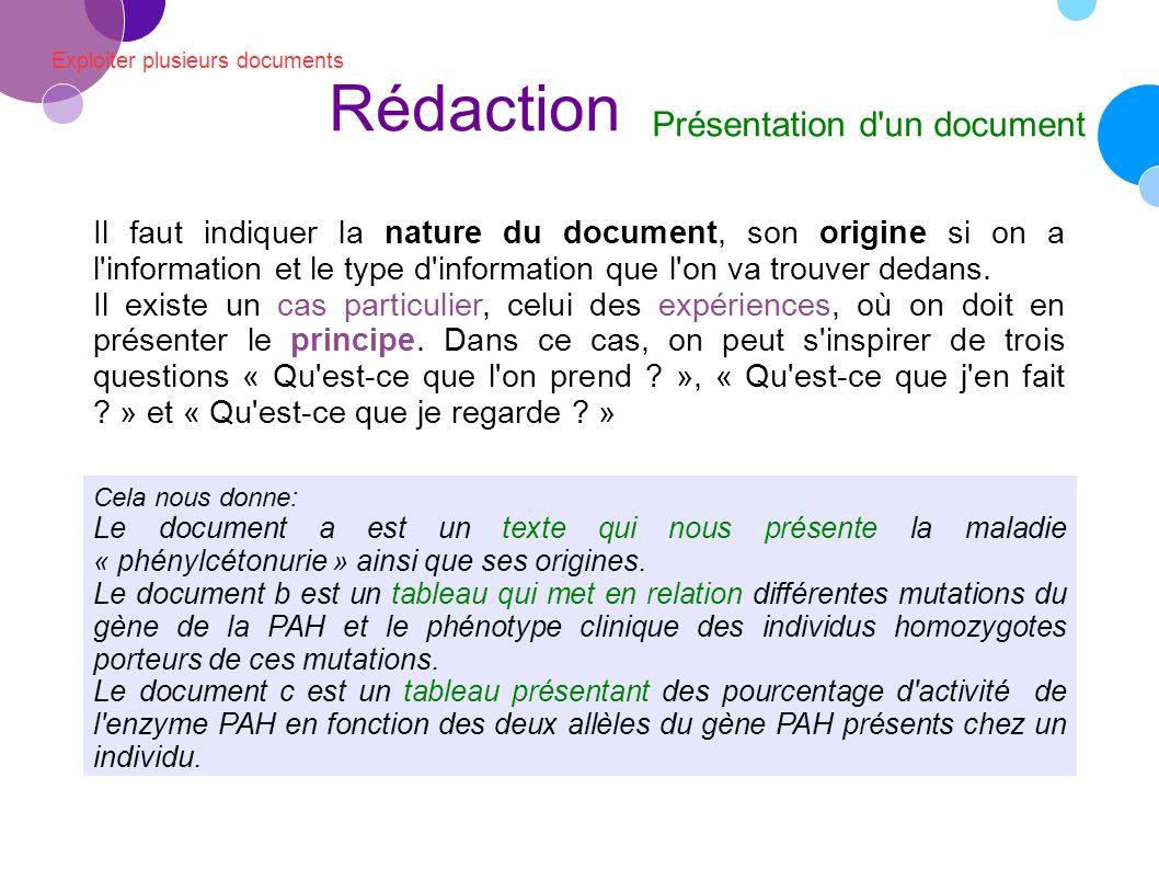 Rédaction Présentation d un document
