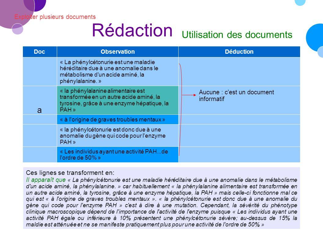 Rédaction Utilisation des documents a Ces lignes se transforment en: