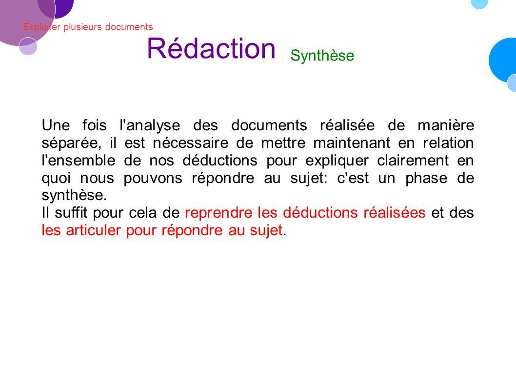 Rédaction Exploiter plusieurs documents. Synthèse.