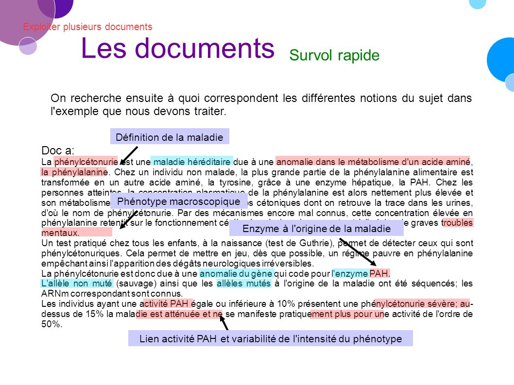 Les documents Survol rapide