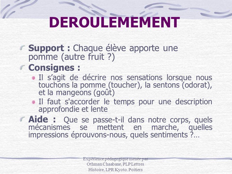 DEROULEMEMENT Support : Chaque élève apporte une pomme (autre fruit )