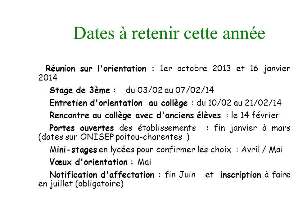 Dates à retenir cette année