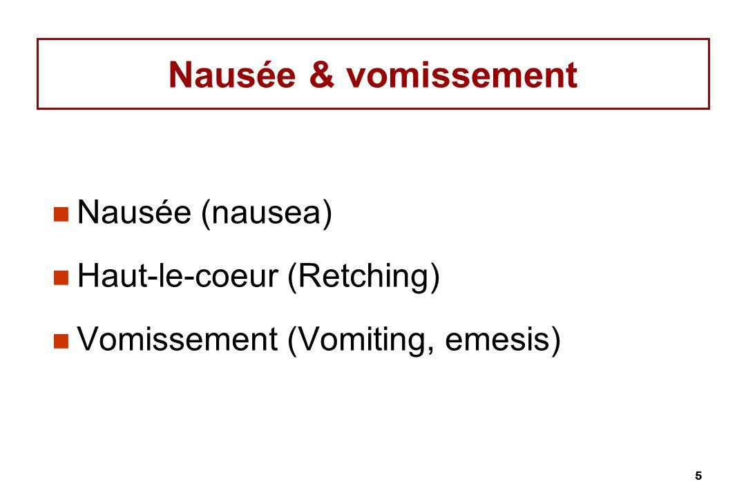 Nausée & vomissement Nausée (nausea) Haut-le-coeur (Retching)