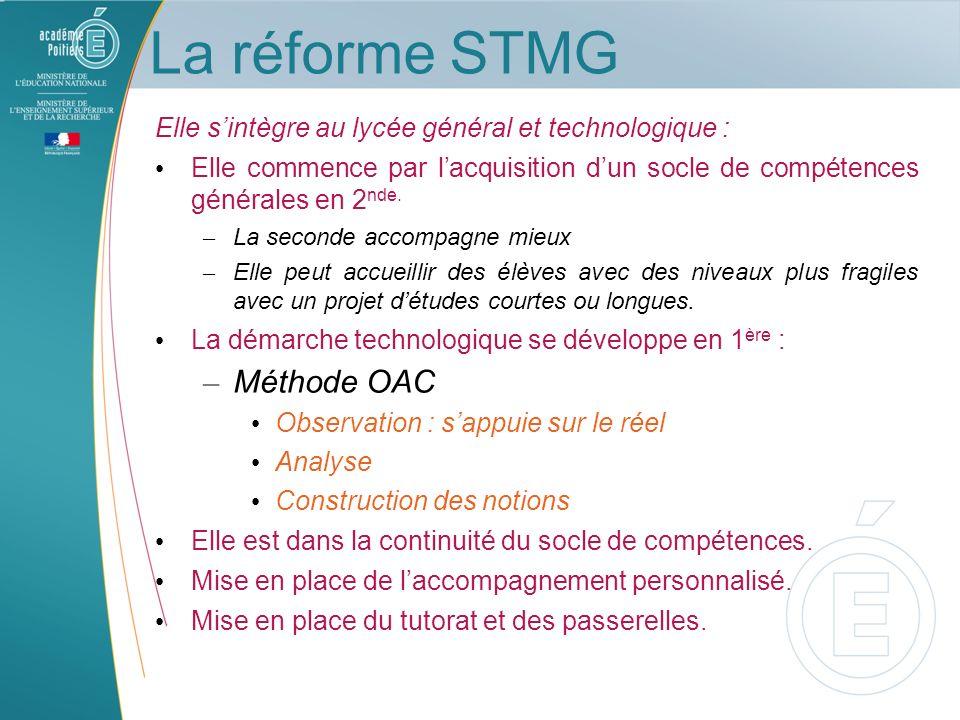 La réforme STMG Méthode OAC