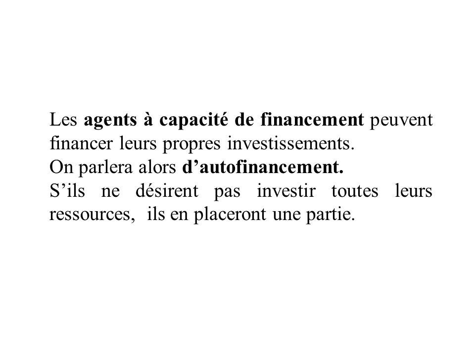 Les agents à capacité de financement peuvent financer leurs propres investissements.