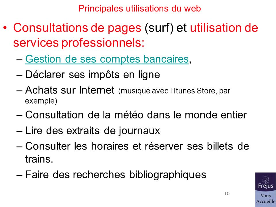 Principales utilisations du web