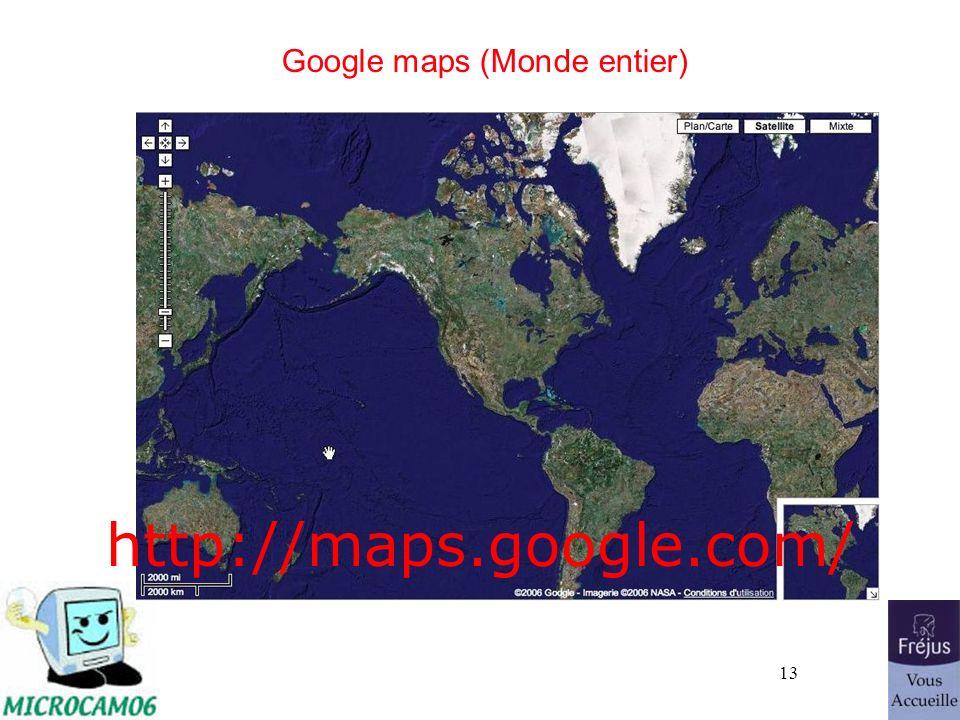 Google maps (Monde entier)