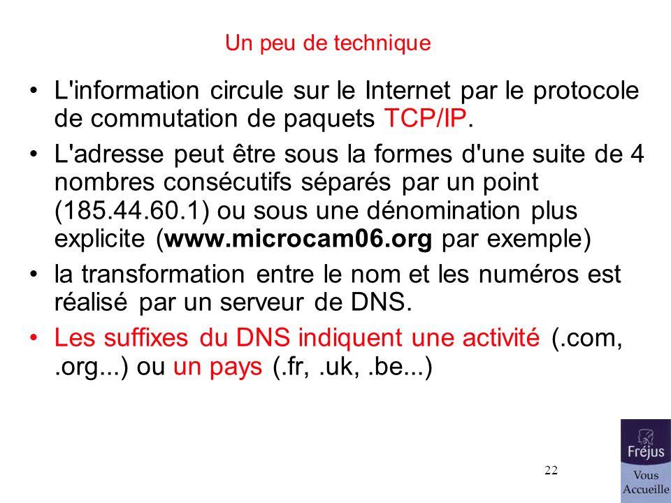 26/03/2017Un peu de technique. L information circule sur le Internet par le protocole de commutation de paquets TCP/IP.