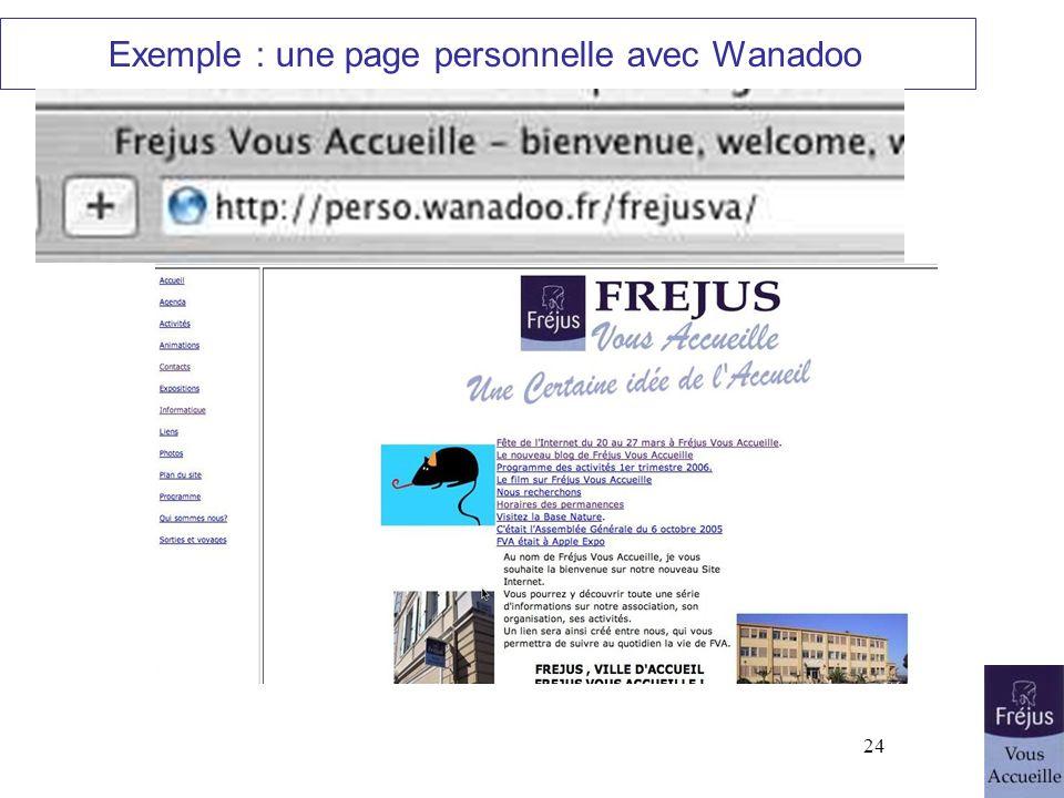 Exemple : une page personnelle avec Wanadoo