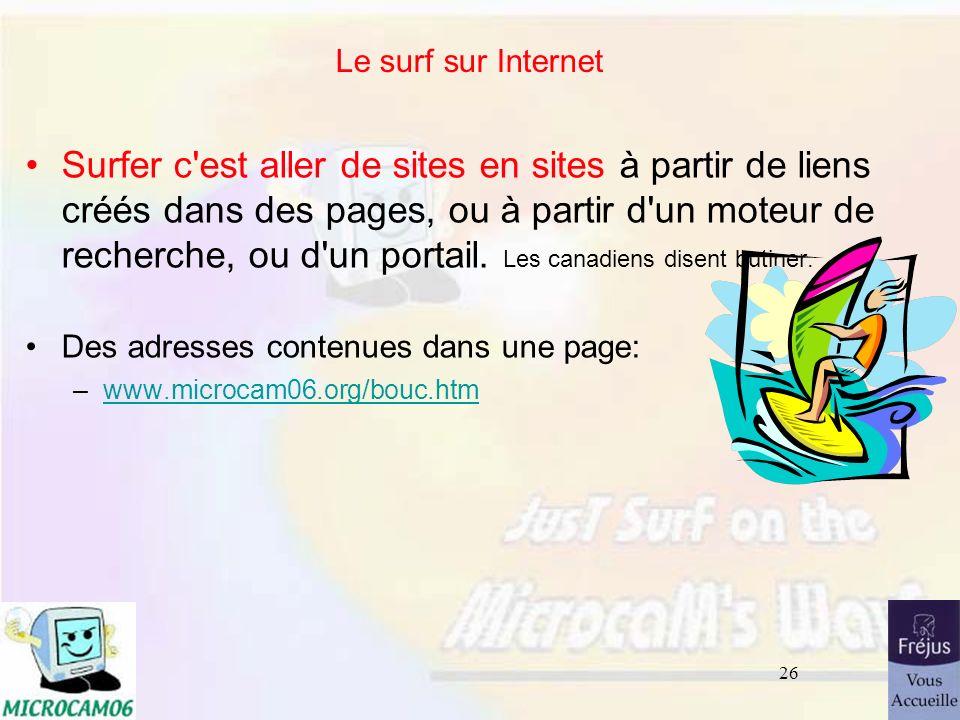 Le surf sur Internet 26/03/2017.