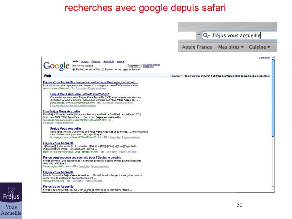 recherches avec google depuis safari
