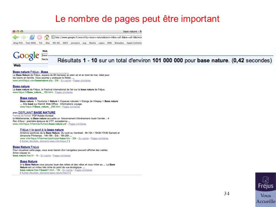 Le nombre de pages peut être important