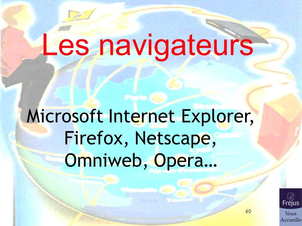 Microsoft Internet Explorer, Firefox, Netscape, Omniweb, Opera…