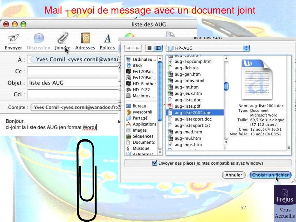Mail - envoi de message avec un document joint