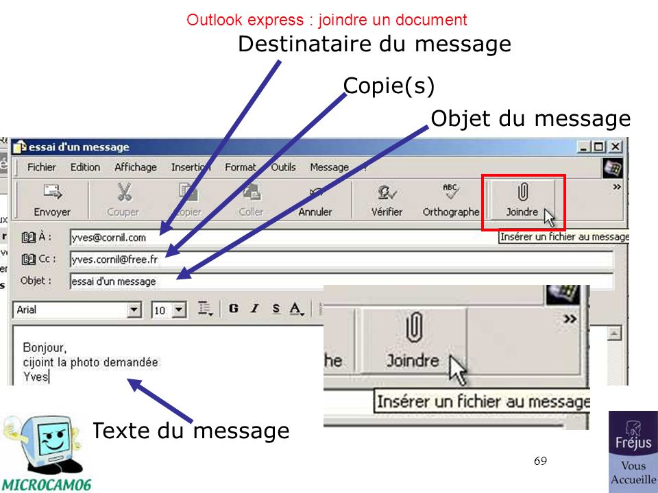 Outlook express : joindre un document