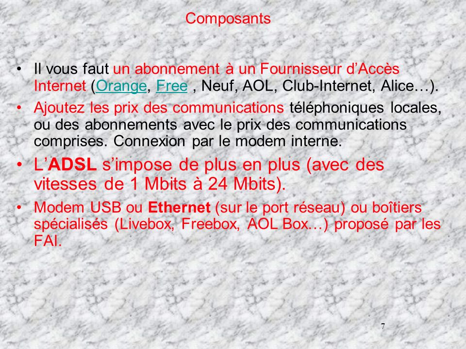 Composants26/03/2017. Il vous faut un abonnement à un Fournisseur d'Accès Internet (Orange, Free , Neuf, AOL, Club-Internet, Alice…).