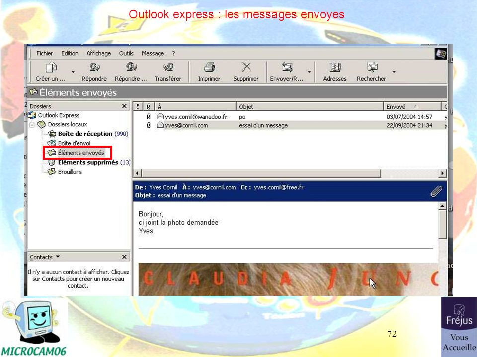 Outlook express : les messages envoyes