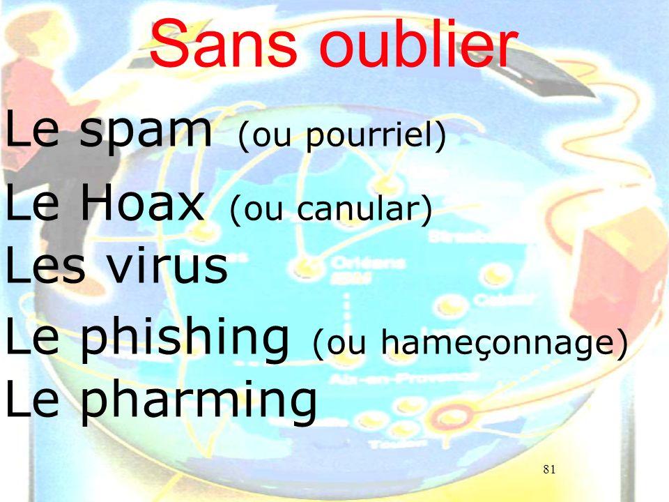 Sans oublier Le spam (ou pourriel) Le Hoax (ou canular) Les virus