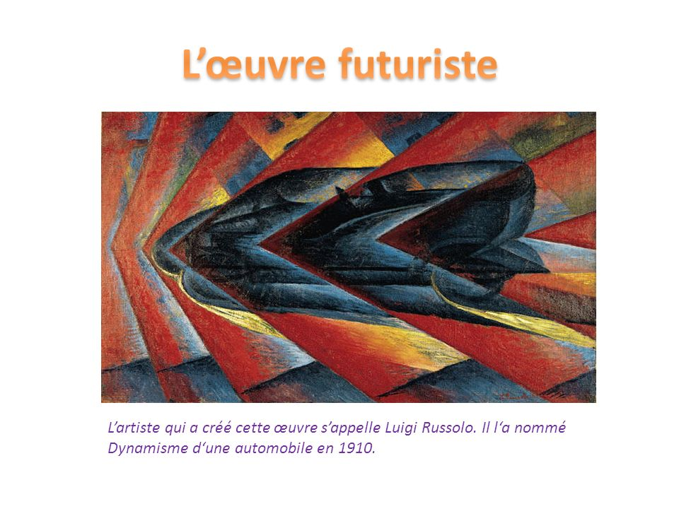 L'œuvre futuriste L'artiste qui a créé cette œuvre s'appelle Luigi Russolo.