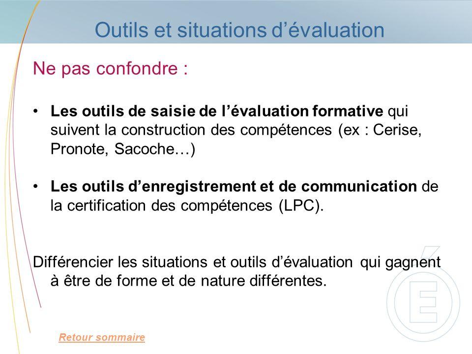 Outils et situations d'évaluation