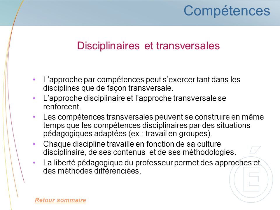 Disciplinaires et transversales