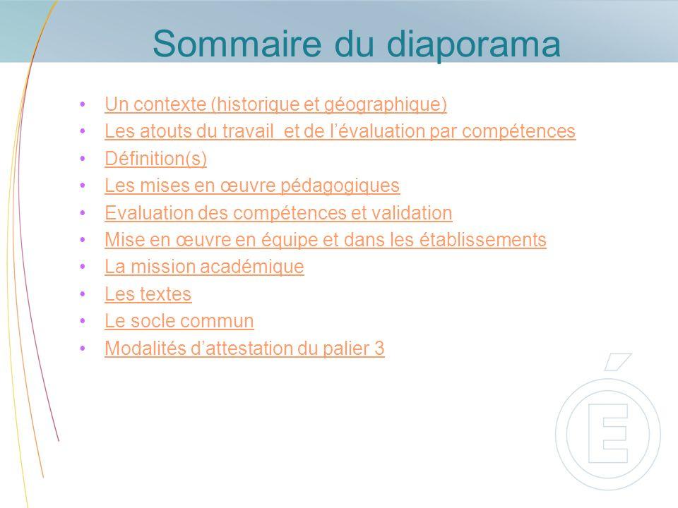 Sommaire du diaporama Un contexte (historique et géographique)