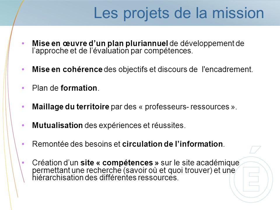 Les projets de la mission