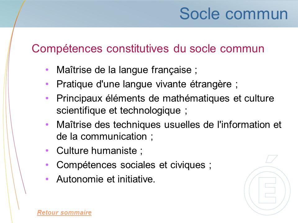 Compétences constitutives du socle commun