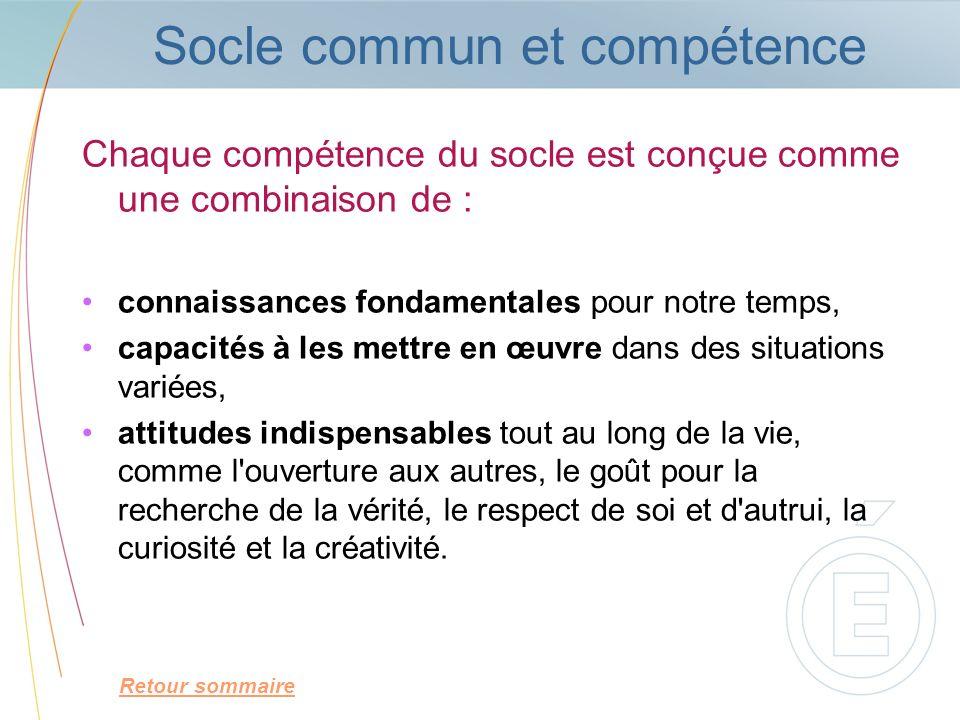 Socle commun et compétence