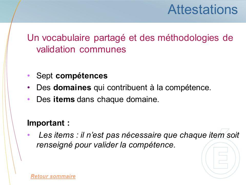 AttestationsUn vocabulaire partagé et des méthodologies de validation communes. Sept compétences. Des domaines qui contribuent à la compétence.