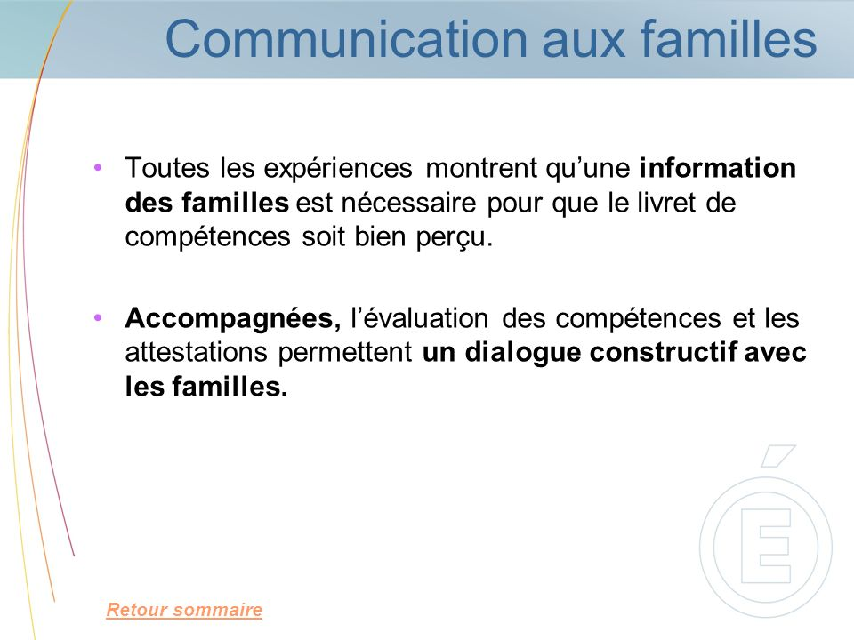 Communication aux familles
