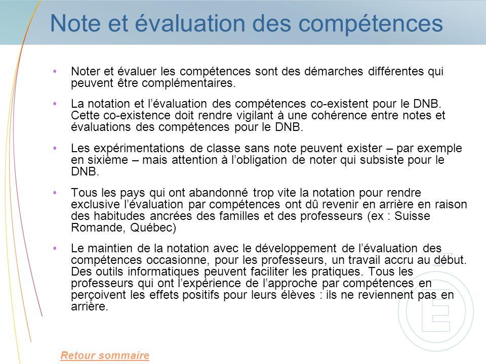 Note et évaluation des compétences