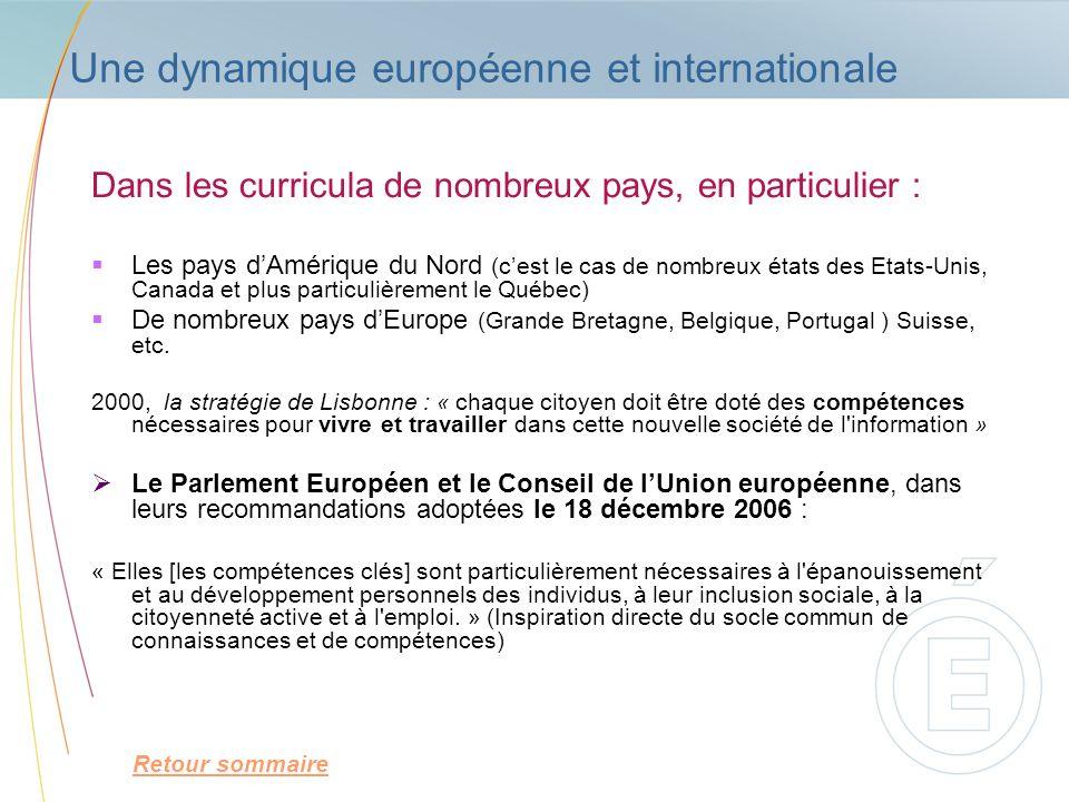 Une dynamique européenne et internationale