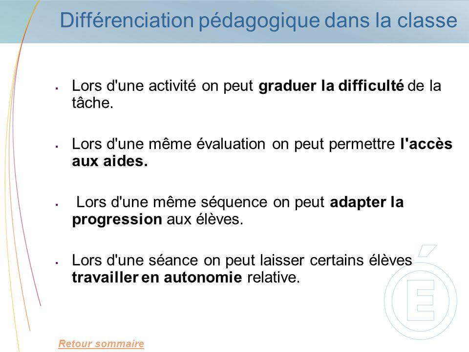Différenciation pédagogique dans la classe