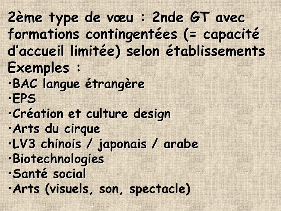 2ème type de vœu : 2nde GT avec formations contingentées (= capacité d'accueil limitée) selon établissements