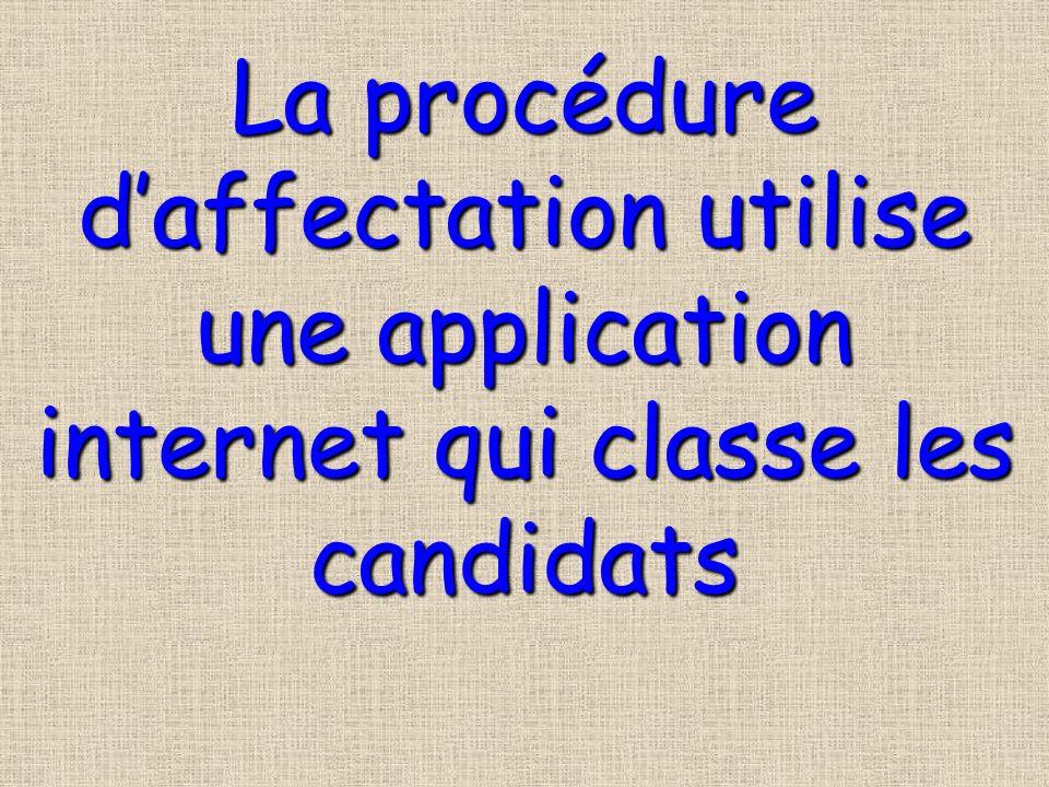 La procédure d'affectation utilise une application internet qui classe les candidats