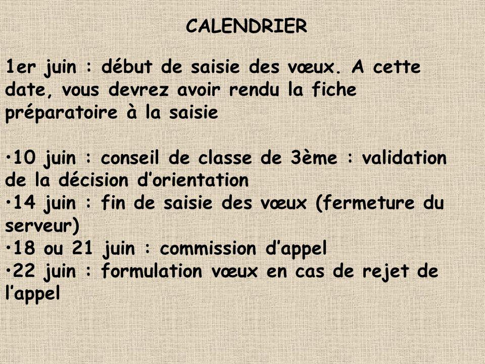 CALENDRIER 1er juin : début de saisie des vœux. A cette date, vous devrez avoir rendu la fiche préparatoire à la saisie.
