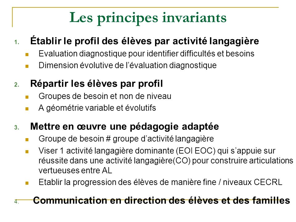 Les principes invariants