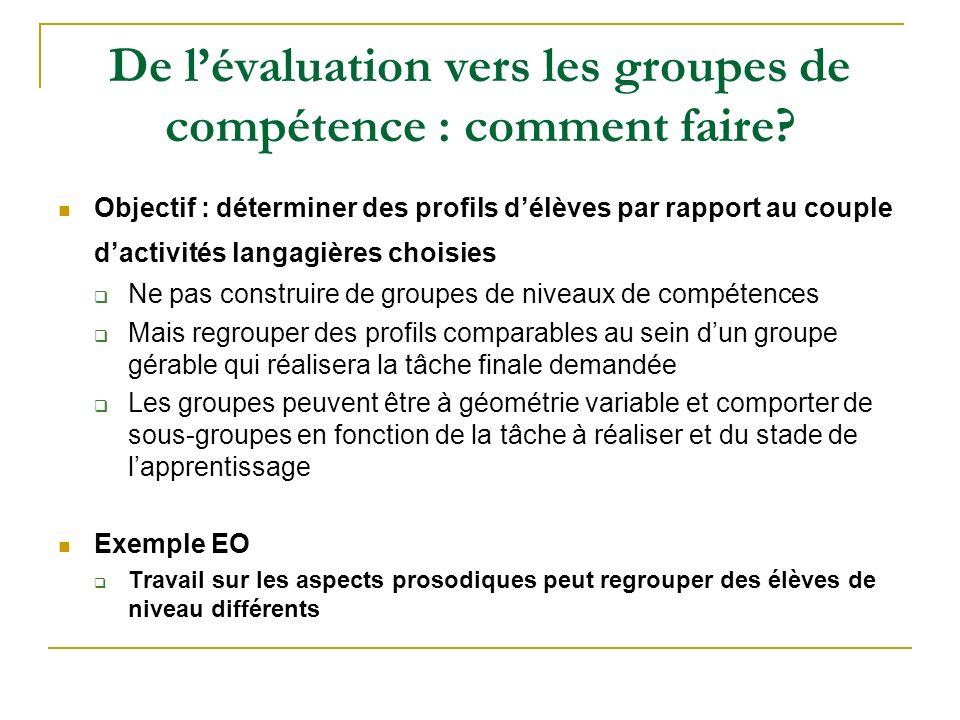 De l'évaluation vers les groupes de compétence : comment faire
