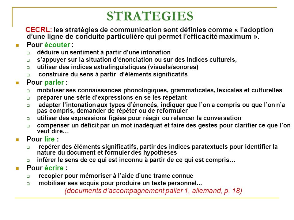 (documents d'accompagnement palier 1, allemand, p. 18)