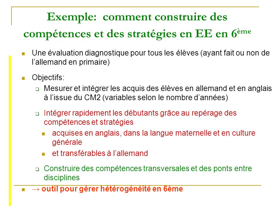 Exemple: comment construire des compétences et des stratégies en EE en 6ème