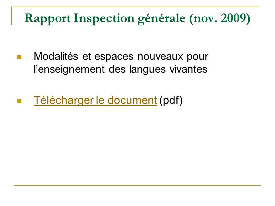 Rapport Inspection générale (nov. 2009)
