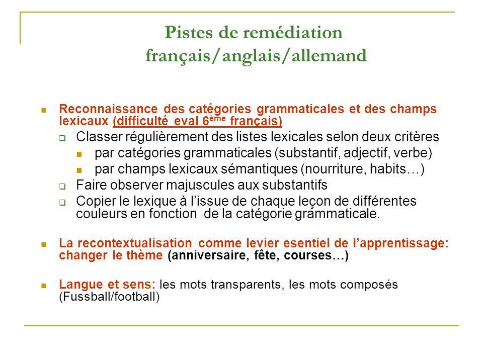 Pistes de remédiation français/anglais/allemand