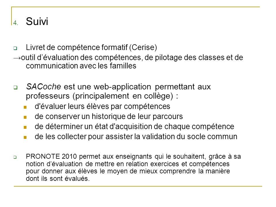 SuiviLivret de compétence formatif (Cerise) →outil d'évaluation des compétences, de pilotage des classes et de communication avec les familles.