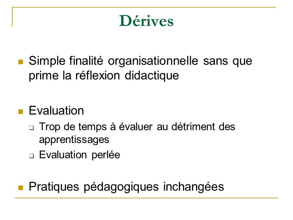DérivesSimple finalité organisationnelle sans que prime la réflexion didactique. Evaluation. Trop de temps à évaluer au détriment des apprentissages.