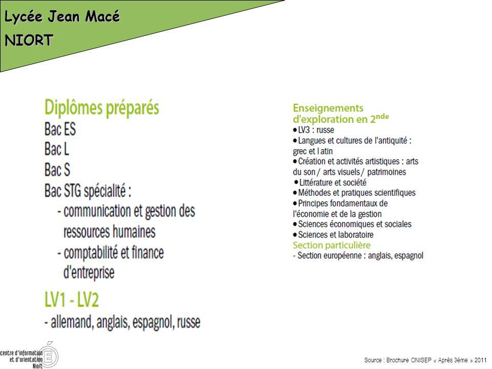 Lycée Jean Macé NIORT Source : Brochure ONISEP « Après 3ème » 2011