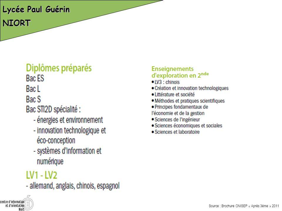 Lycée Paul Guérin NIORT Source : Brochure ONISEP « Après 3ème » 2011